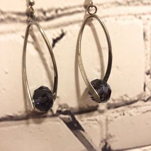 Jewelry - Silver and purple crystal earrings